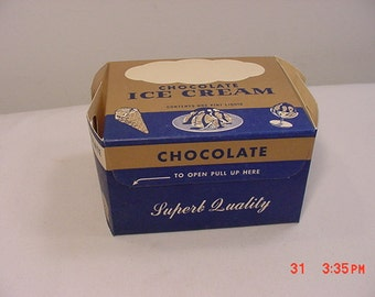 Vintage 1951 Superb Quality Chocolate Ice Cream One Pint Box  16 - 569