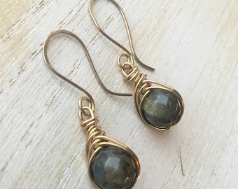 Labradorite & Brass Wirewrapped Earrings