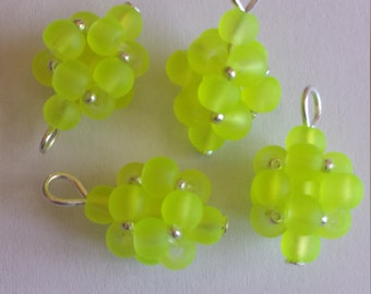 4 beads 4mm Frosted Yellow glass pendants
