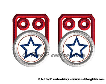 Machine Embroidery STAR 1 Shoe Charms In-Hoop Design 4x4 5x7 6x10 Tag Patriotic July Memorial Captain America Movie Inspired SHIELD Wings