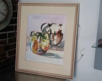 Large Original Vintage Watercolour Still Life 'The Pots From Aubeterre' Jill Emslie 1991