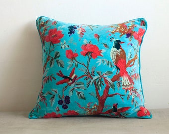 Velvet cushion cover with birds and flowers design,turquoise throw cushion, throw pillow cover, cotton cushion, home decor, pillow