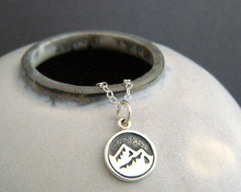tiny silver earth element necklace mountain peaks mt range pendant small sterling four 4 elemental symbol capricorn taurus virgo yoga 3/8