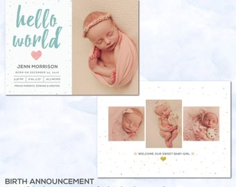Birth announcement photoshop template - Newborn announcement template - INSTANT DOWNLOAD - HD122
