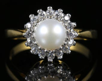 Pearl Paste Cluster Ring 18ct Gold Silver