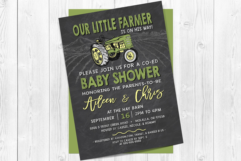 Tractor baby shower invitation Farm baby shower invitations