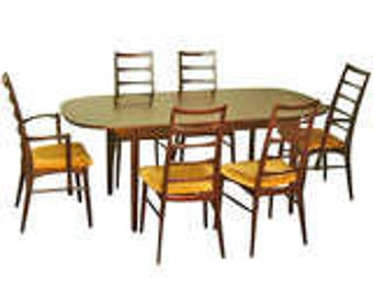 Mid century modern Koefedes dining set/ danish designer  table chairs furniture