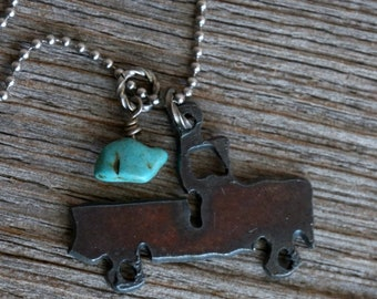 Pickup Truck Necklace SMALL with Freshwater Pearl or Turquoise, Rustic Birthday Gift for Her, Christmas Gift for Mom, Gift for Girlfriend