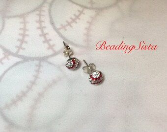 Baseball - 6mm - Swarovski Half Stud  Earrings - 925 Sterling Silver Post