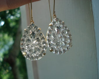 Vintage 1960's Art Deco Faceted Cut Crystal Glass Teardrops Gold Earrings Nature Chapel Windows