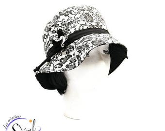 Ladies black and white summer hat, coton hat, beach hat, travel hat, big capeline, women summer hat, women capeline, sun capeline