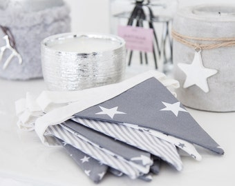 Handmade Bunting - Grey / White Stars & Stripes