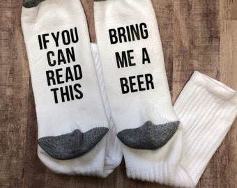 personalized socks, socks, gift for dad, dad gift, groomsmen gift, funny fathers day, dad socks, Father's Day gift, if you can read this