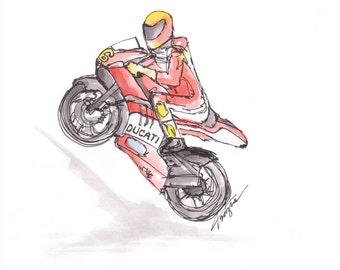 """Tritzia """"Motorbike"""" Illustration in Watercolour Pencil"""