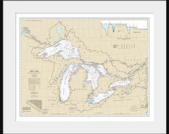 Great Lakes Map - Nautical Map - Nautical Chart - Map Art - Lake Superior, Lake Michigan, Lake Huron, Lake Erie - White