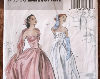Butterick Pattern # B4918 - 1950's Repro -UNCUT Strapless Evening Gown - Fitted Bodice, Wrapped Bust, Shoulder Drape - Sizes 14, 16, 18, 20