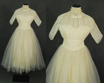 vintage 50s Lace Dress - 1950s Off White Lace Wedding Dress Formal Dress Party Dress Wedding Gowns Sz XS