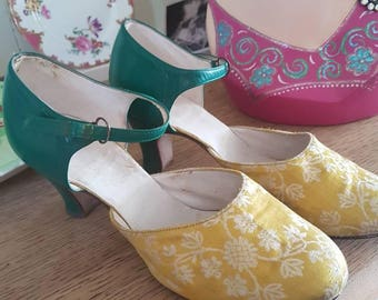 Vintage 1920s silk brocade and leather yellow and green shoes Now reduced