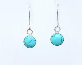 Turquoise Earrings, Sterling Silver Earrings with Turquoise, Handmade Turquoise Earrings, Silver earrings