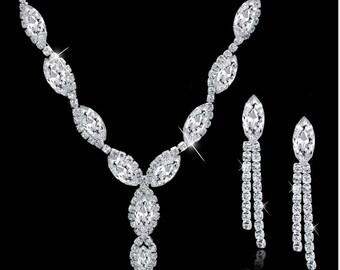 Rhinestone, Crystal, CZ necklace set, wedding bridal jewelry set