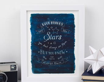 Good Friends are like stars - Inspirational Typography print - Friendship Print - Gift for friends - Celestial print - Best friend present