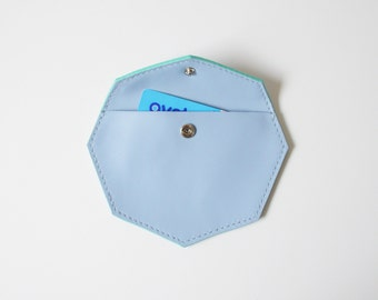 Leather coin purse - Octavia Blue / leather coin pouch womens change purse geometric purse small leather pouch blue leather pouch popper