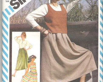 1980's Sewing Pattern - Simplicity 6322 Esprit Pullover Top, Tank Top, Skirt,  Size 10 Uncut and factory folded