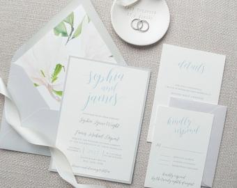Dusty Blue and Grey Wedding Invitation, Watercolor Floral Envelope Liner, Calligraphy, Destination Wedding - SAMPLE