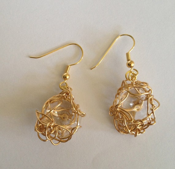 SJC10264 - Stunning handmade gold plated wire crochet earrings (two sizes) with recycled chandelier crystal