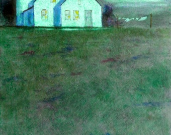 Moonlight Farm, impressionism, farm paintings, night scenes, farm buildings, light green colors,