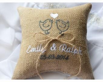 Burlap Wedding pillow , lovebirds wedding pillow , ring bearer pillow, ring bearer pillow with Custom embroidery (R40B)