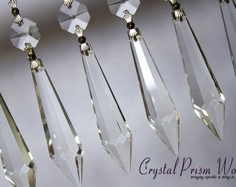 Decorative chandelier crystals prisms by crystalprismworld 25 clear large udrop icicle glass chandelier crystals chrome bow ties mozeypictures Image collections