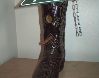 Hand made cowboy boot bird house