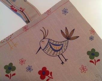 Tote Bag, Shoulder Bag, Handbag, Cotton Fabric Bag, Reusable Bag, Eco Bag, Birdie Fabric Bag,