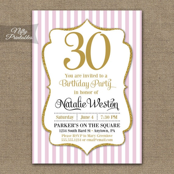 Items similar to 30th Birthday Invitations Pink Gold Glitter
