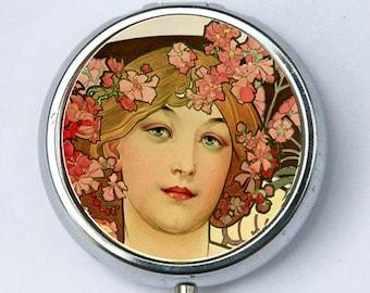 Art Nouveau goddess PILL CASE pillbox pill holder Girl flowers in Hair