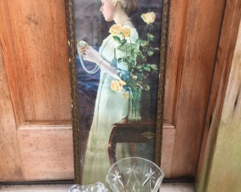 Print of Edwardian Lady and Pair of Vases