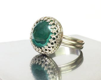 Malachite Ring, Sterling Silver Ring, Crown Bezel, Handmade Statement Ring, Size 7 Ring, Ready to Ship, One of a Kind, Cocktail Ring