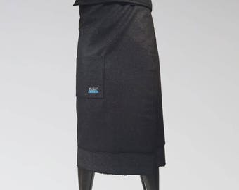 Size XS/S, NorSari® is a wool outerwear wrap. It's a simple, yet beautiful way to stay warm. Wrap on OVER your clothes. Warm blanket skirt.