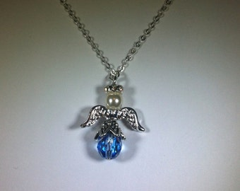 ANGEL Necklace – AQUAMARINE - Handcrafted - MARCH Birthdays