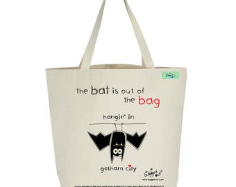 Recycled cotton canvas tote bag with screen printed bat design by Bugged Out, hand printed in New York
