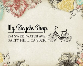 Retro Bicycle Return Address Stamp, Bike Custom Address Label, Rubber Stamp, Personalized Stamp, Bike Hipster, Bike Shop Stamper 32