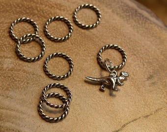 T-Rex Can't Knit! Stitch Markers for Knitting - Twisted Silver Rings - Dinosaur Charm - For Knitters - Notions