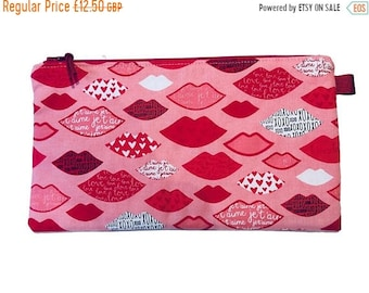 SALE 20% OFF Lips Multi Purpose Pouch, Makeup Bag, Small Craft Project Bag, Gadget Bag, Pencil Case, Handmade in the UK