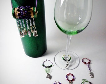 WINE Themed Wine Glass Charms & Cork Bottle Ornament