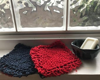 Knit Dishcloth, Set of 4, Navy Blue & Red