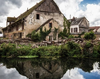 Dilapidated Building Photo, Abandoned, Architecture Print, French Farmhouse, Cloud Photograph, Water Reflection, Green and Tan Home Decor