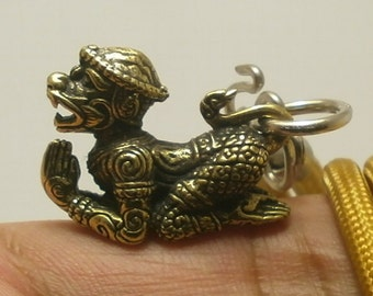lord Hanuman monkey king chant magic mantra ramayana Hindu life protection amulet pendant 24 inches rope necklace Thailand nice gift