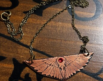 Bird Skull & Wings Crystal Necklace in copper - witch jewelry, occult necklace, art deco wings, minimalist geometric jewelry