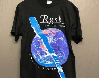 M vintage 90s 1996 RUSH test for echo tour t shirt
